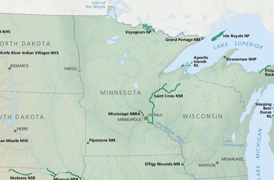 Minnesota National Parks on large minnesota map lakes rivers, minnesota lakes and rivers, just minnesota map with rivers, map of all lakes mn,