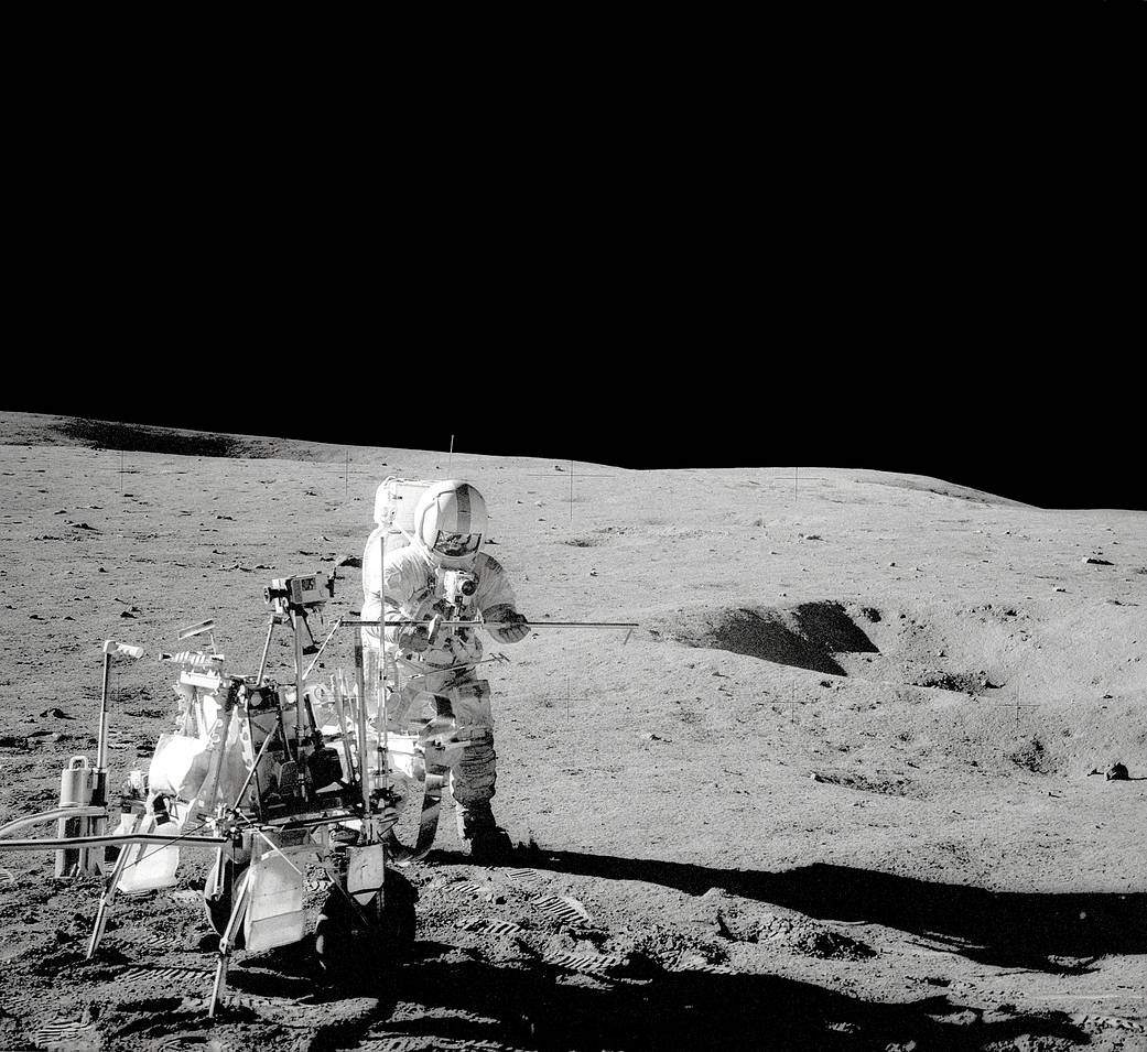 Apollo 14 landed on the Moon and the astronauts deployed instruments and took rock samples.