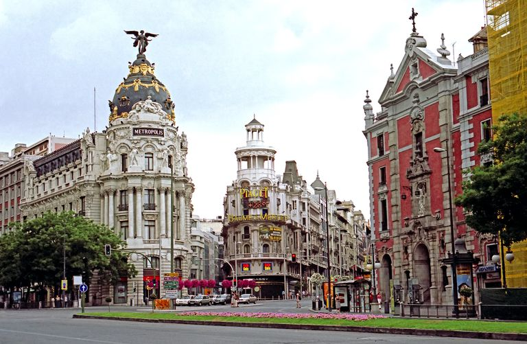 Buildings in downtown Madrid, Spain.
