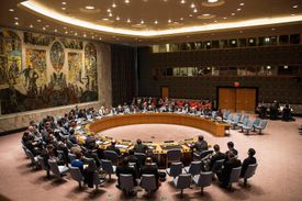 The United Nations Security Council meets regarding the simmering conflict between Ukraine and Russia on May 2, 2014 in New York City