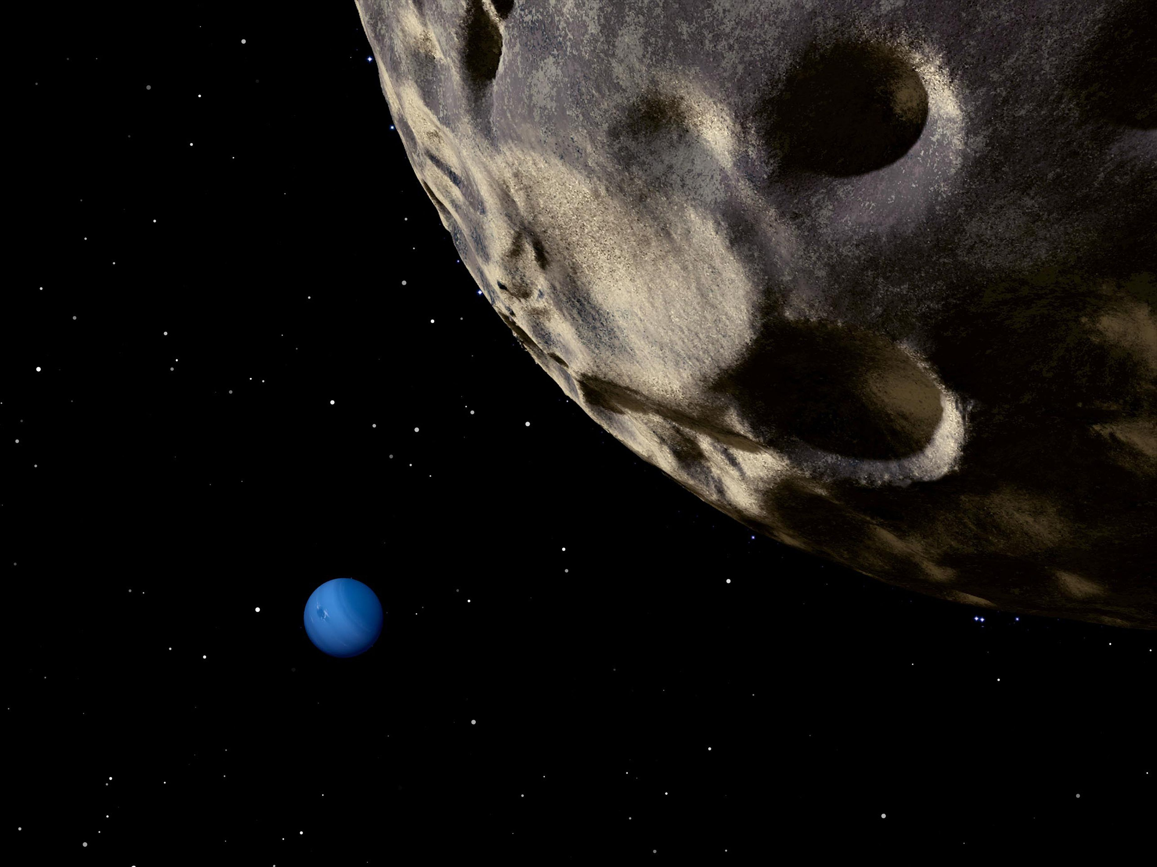 Neptune seen from its tiny, distant moon, Nereid. (Artist's conception)