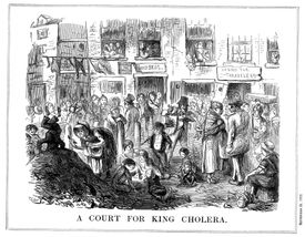 A picture of a crowded London street, easy prey for cholera in the 1850s.