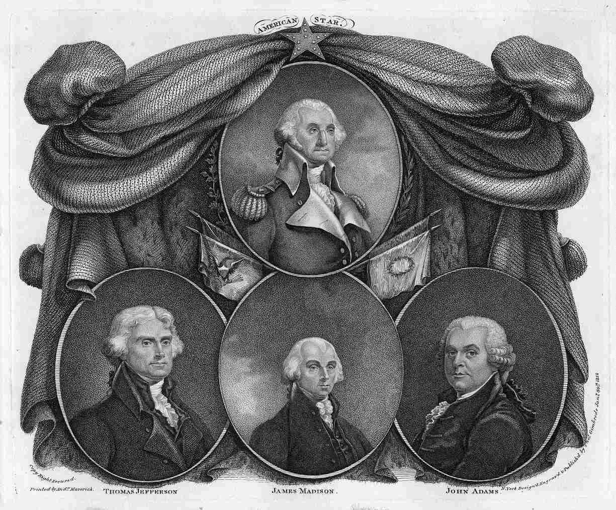 First Four Presidents - George Washington, John Adams, Thomas Jefferson, and James Madison