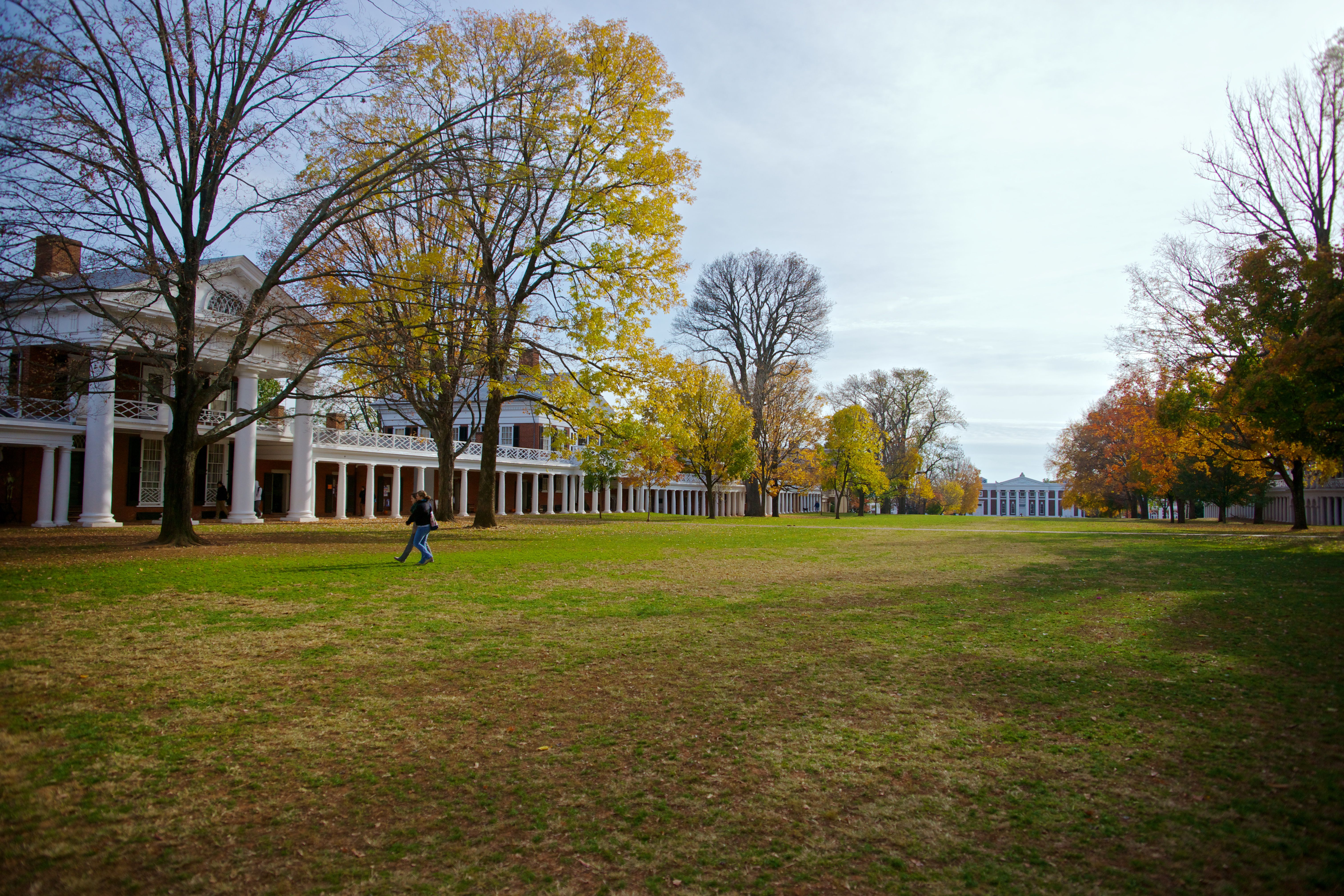 The Lawn of the University of Virginia, USA, looking south onto Old Cabell Hall
