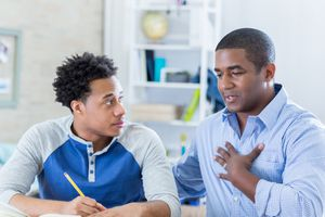 Vulnerable father talks seriously with son