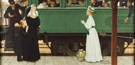Photograph of the painting Little Orphan at the Train by Norman Rockwell