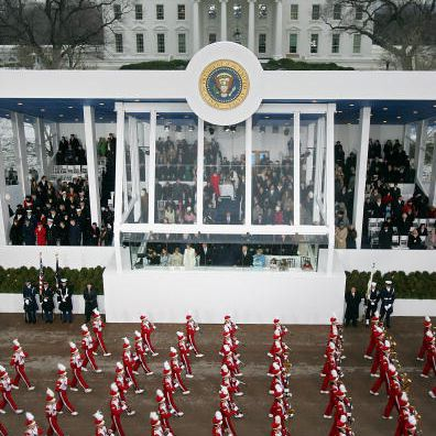 The Presidential reviewing stand during the inaugural parade on January 20, 2005