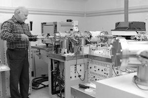 A man using a mass spectrometer