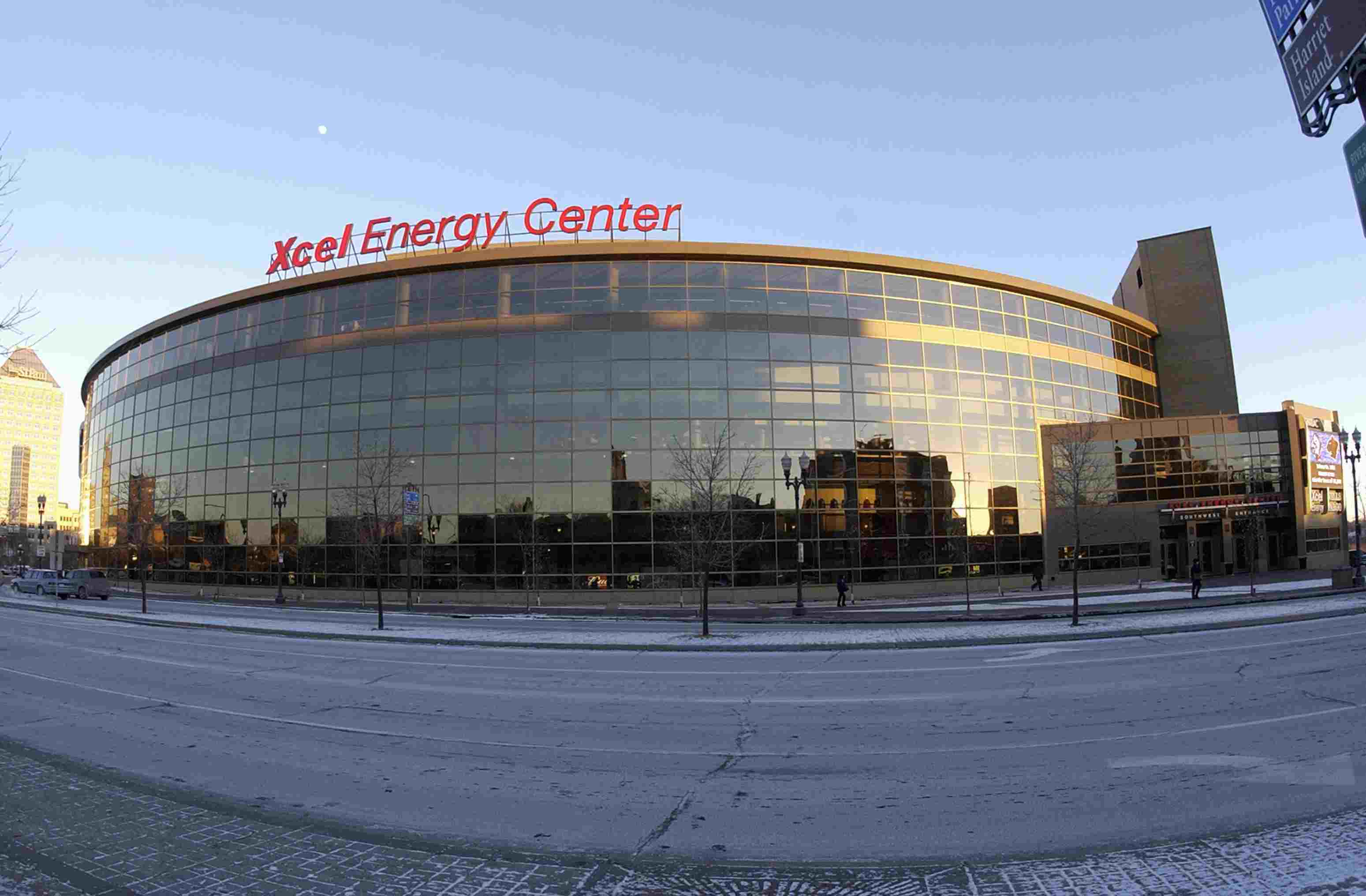 Xcel Energy Center in Saint Paul, Minnesota displays its curved wall of glass