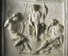 Carving of Zeus with Poseidon and Hercules