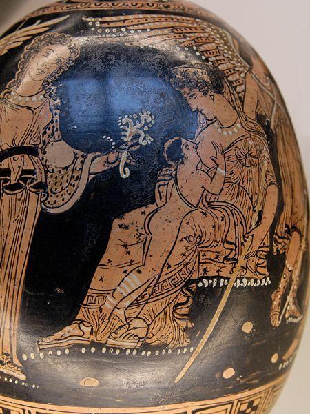 Hera Suckling the Baby Heracles. Apulian Red-Figure Squat Lekythos, c. 360-350, From Anzi.