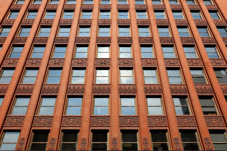 Detail of the red terra cotta facade of the Wainwright State Office Building in St. Louis, Missouri