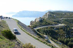 Motorist & Car on the Route des Crêtes Coast Road Provence France
