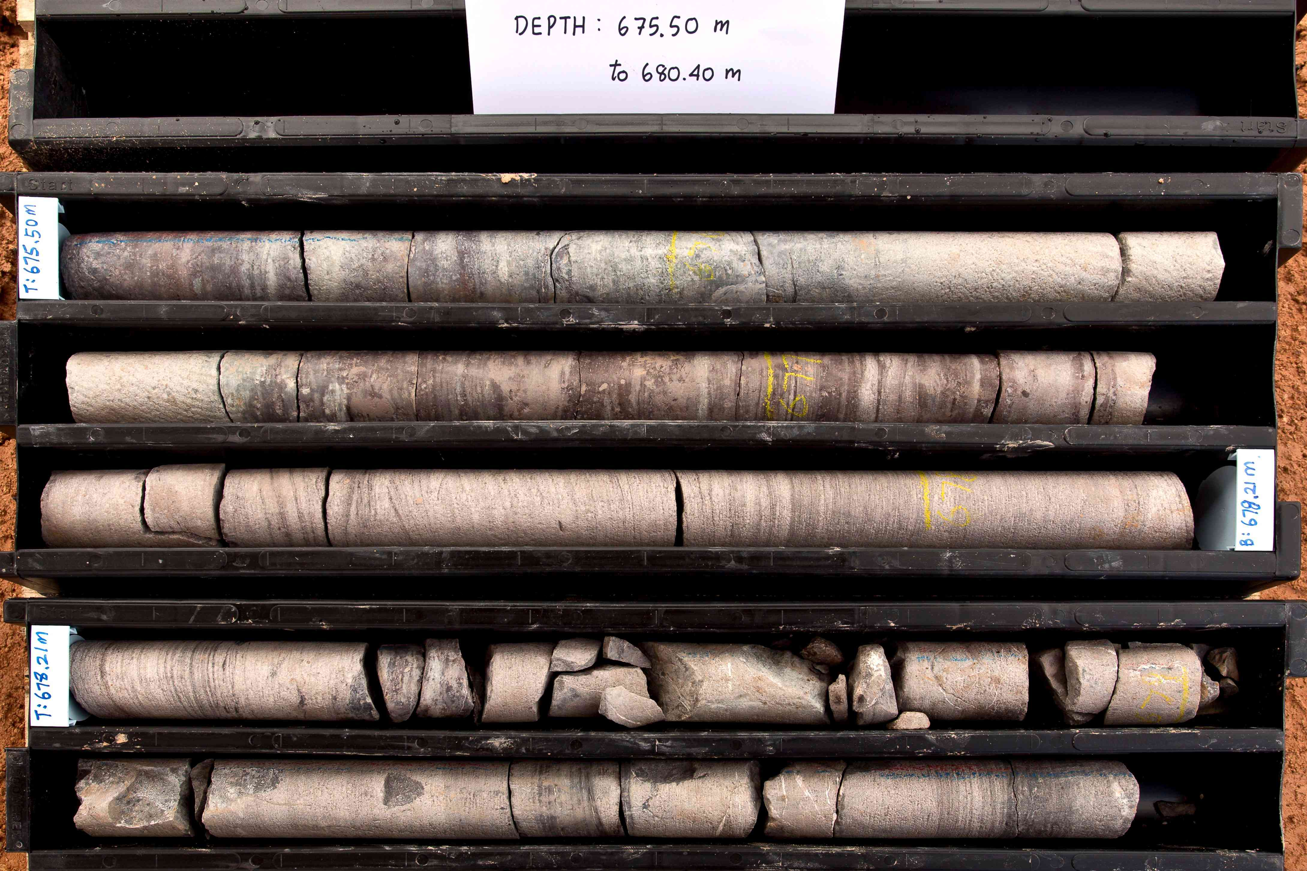 Geological core samples ready for analysis