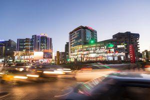 Ethiopia, Addis Ababa, City at night.