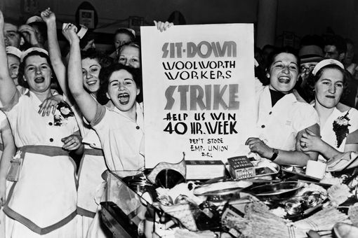 Striking Woolworth's workers demonstrating in 1937