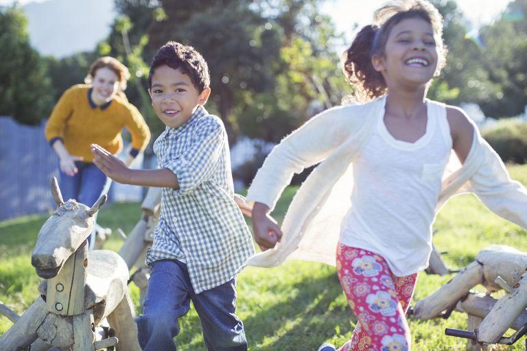 Children running in field