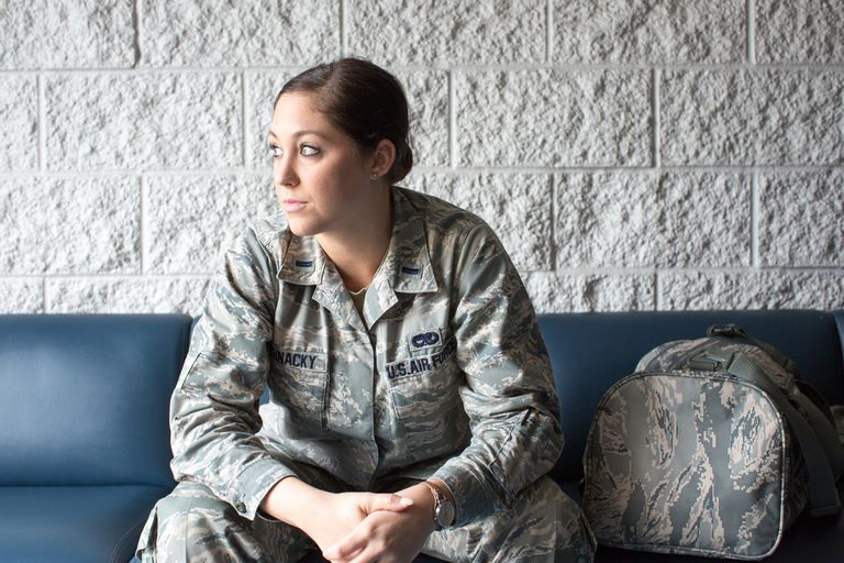 female Air Force soldier in her fatigues