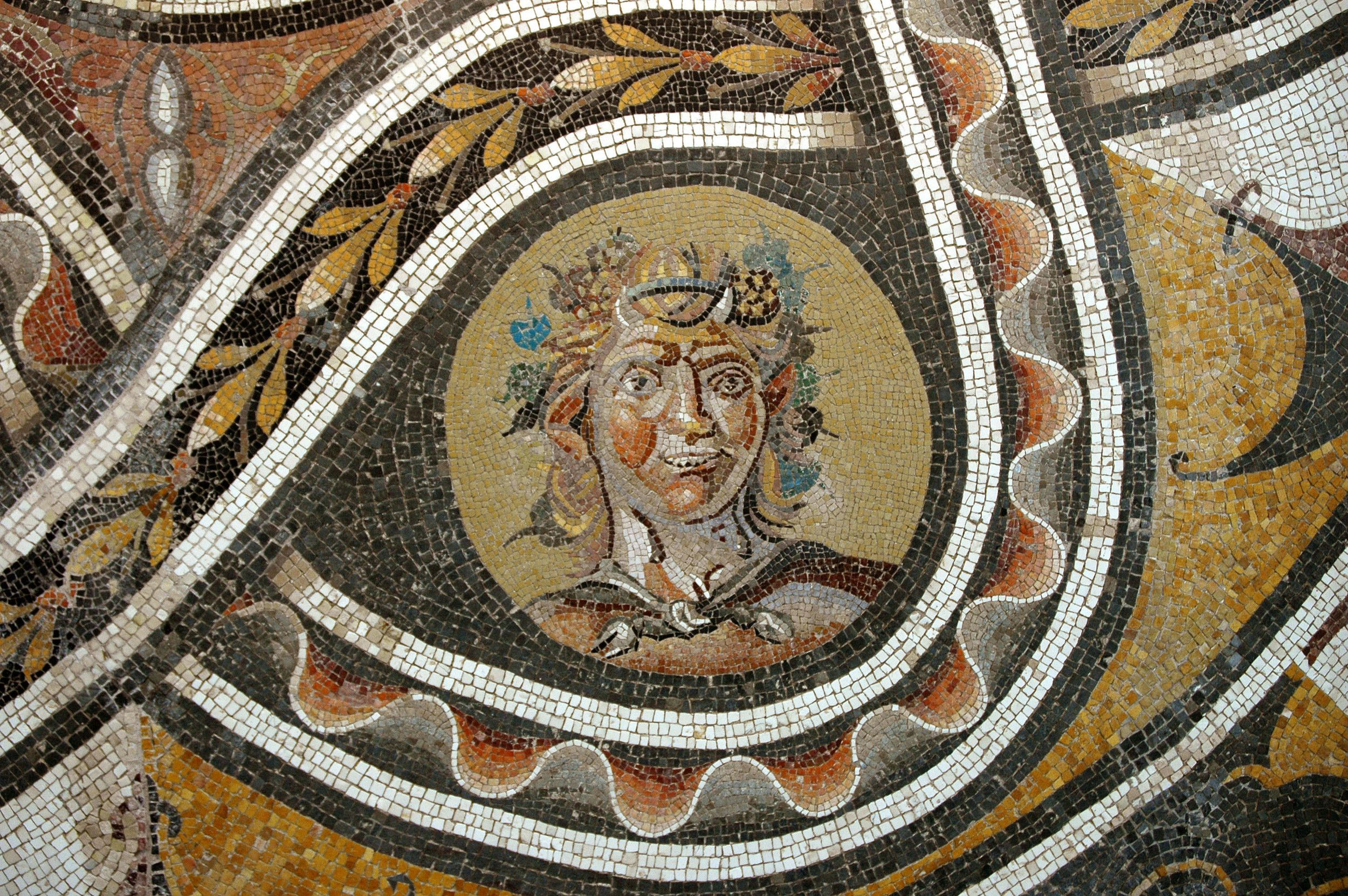 Roman Pavement Mosaic Depicting the God Bacchus