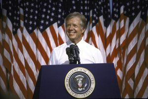 President Jimmy Carter speaking at Merced College