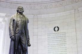 Jefferson Memorial in gray brick circular room