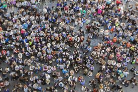 High angle view of the people crowd gathered on the street.