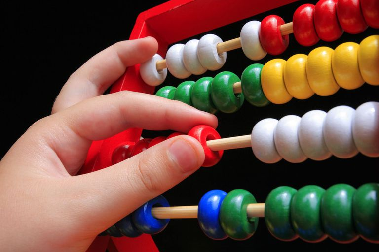 a hand working a colorfiul abacus
