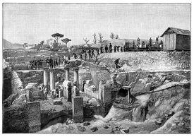 19th Century Woodcut Print of Excavations at Pompeii