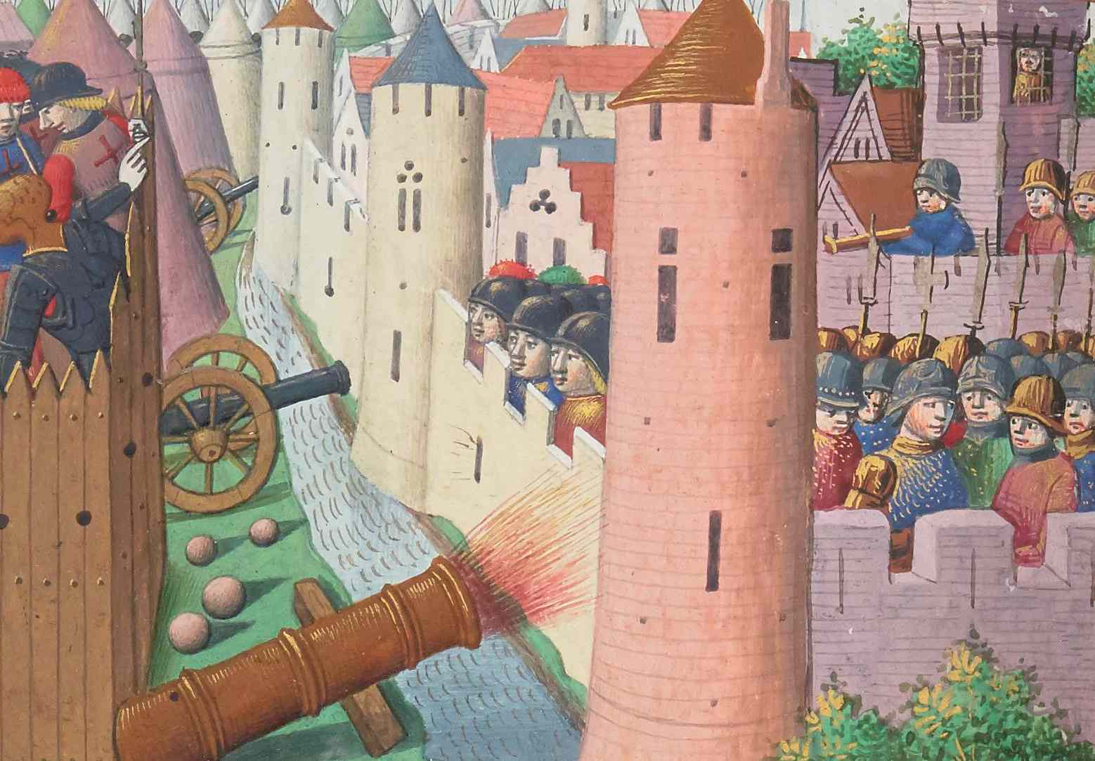 Medieval drawin of wooden fort across the city walls with the Earl of Salisbury being wounded.