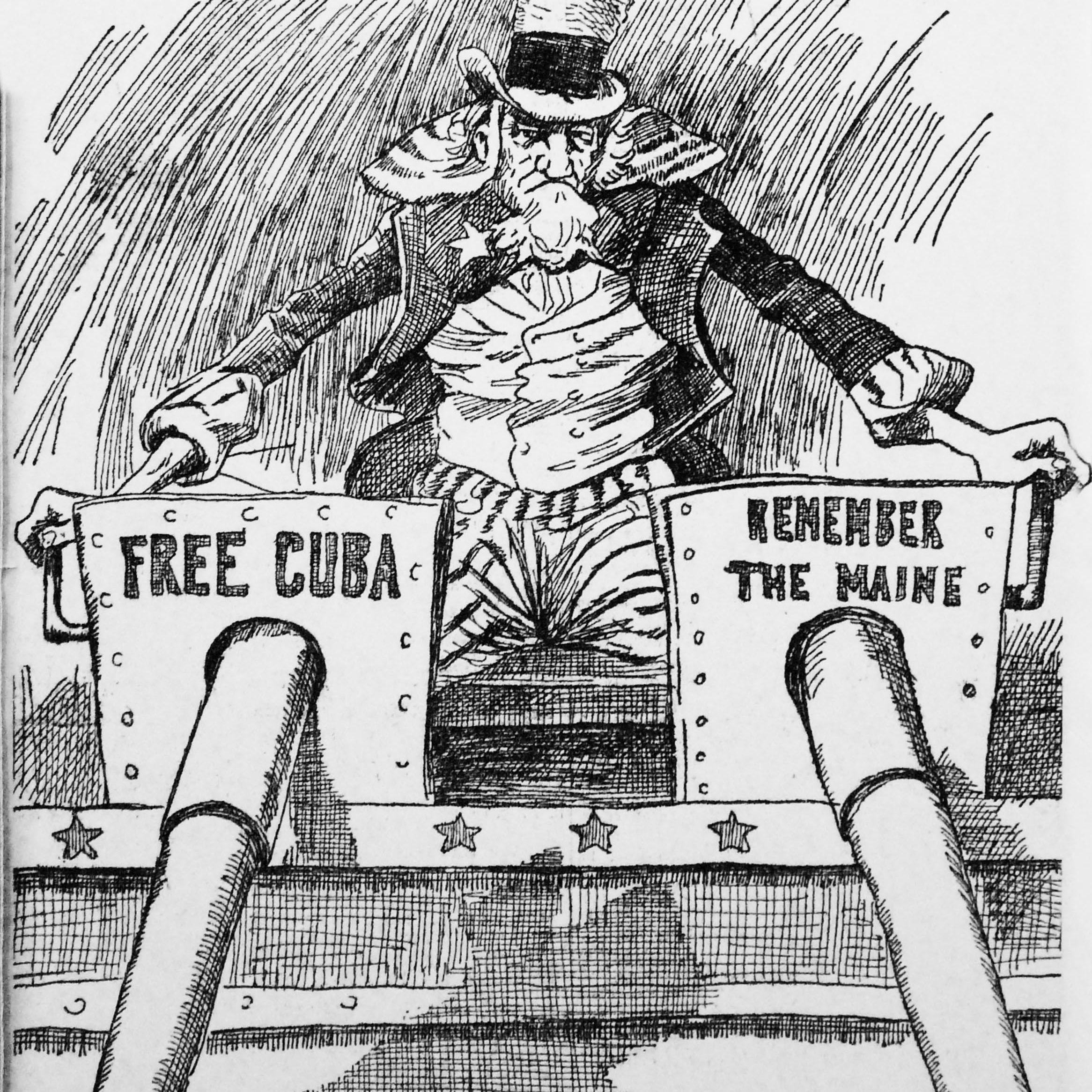 Cartoon of belligerent Uncle Sam placing Spain on notice, c. 1898