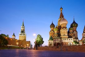 Red Square in Moscow at Sunset - stock photo The buildings located on the Red Square: Kremlin wall (at left) and Saint Basil's Cathedral (at right), Moscow, Russia. UNESCO World Heritage Site