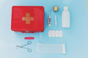overhead shot of first aid kit
