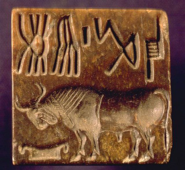 Indus script on tablets with horned animal