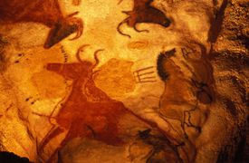 Painting of Aurochs and Horses at Lascaux Cave, France