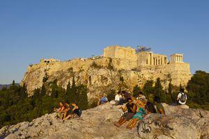 Greece, Athens, Asyrmatos District, Areopagus Rock and Acropolis