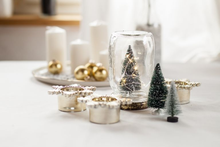 Christmas decorations on a table