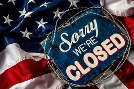 Anti-Isolationism poster 'sorry we're closed' sign wrapped in barbwire on top of the American flag.
