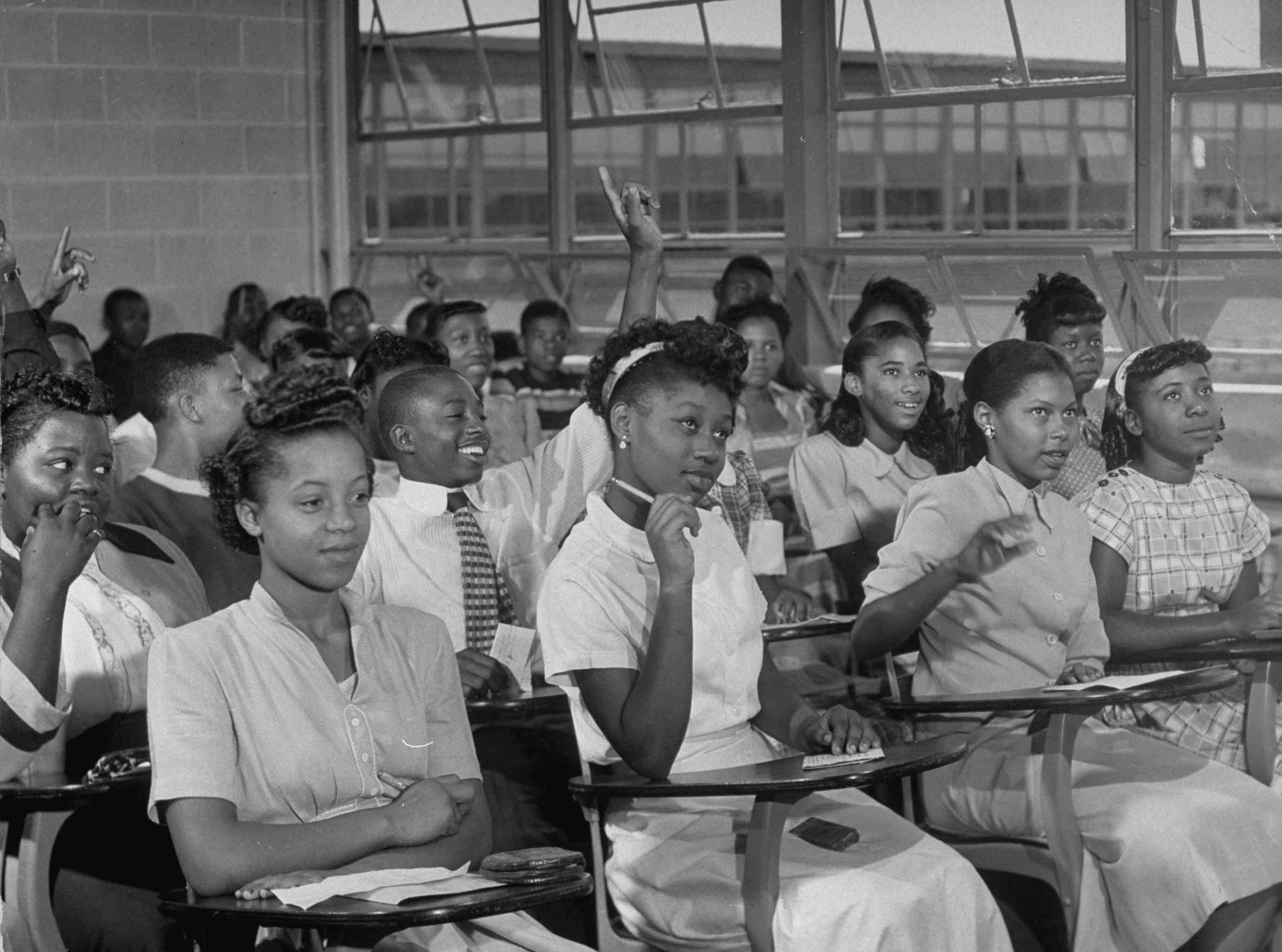 September 1949 African-American students in class at brand new George Washington Carver High School, Alabama