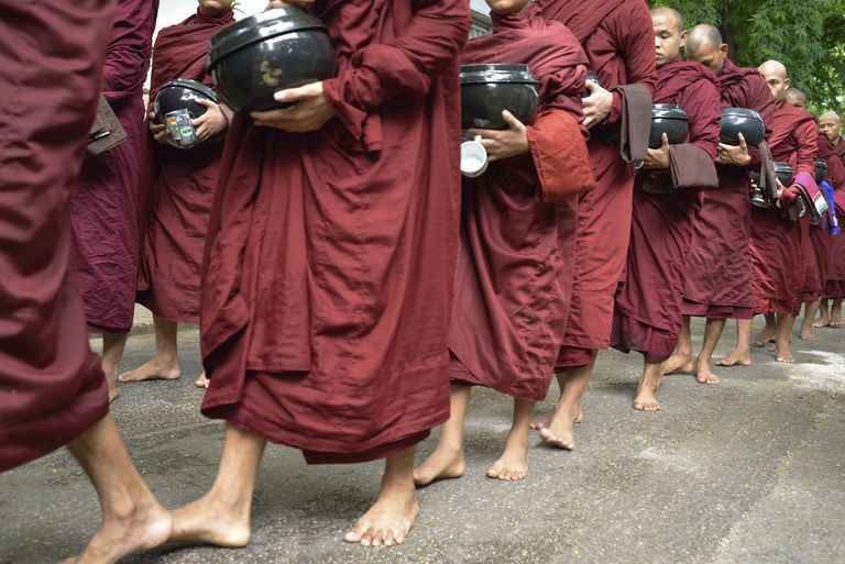 Monks and novices in a row