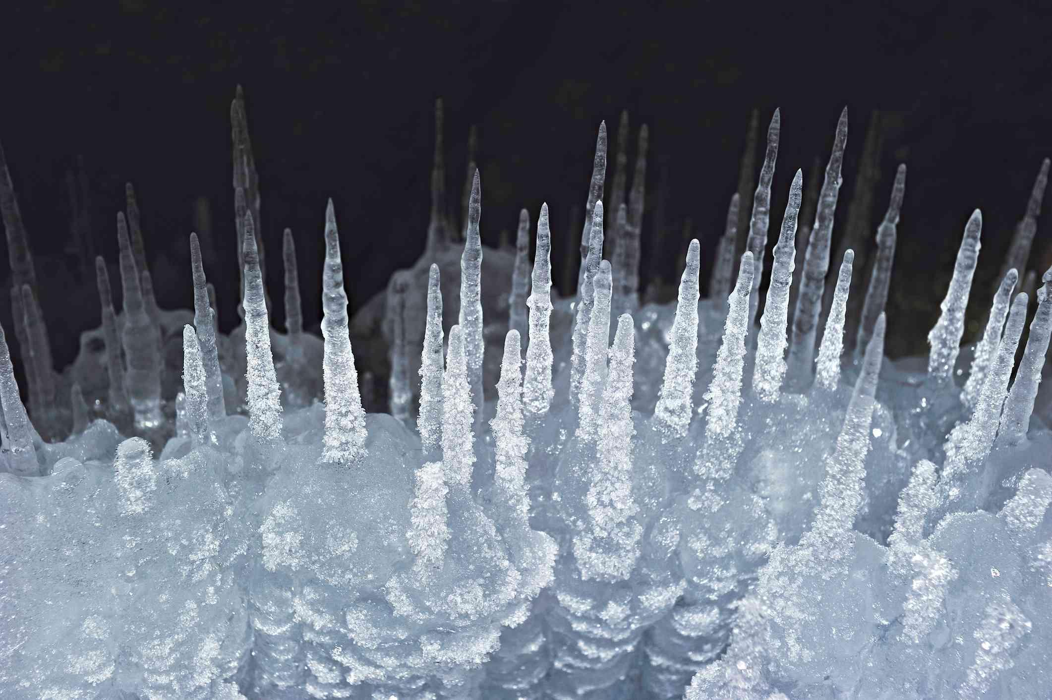 Ice spikes formation, Lake Baikal, Siberia, Russia