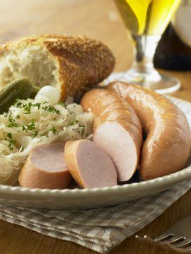 Bockwurst,Sauerkraut and Pickles
