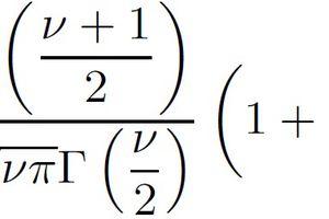 Formula for Students' t distribution