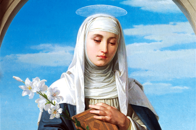 Saint Catherine of Siena, pensive and haloed, painted by Alessandro Franchi in 1888
