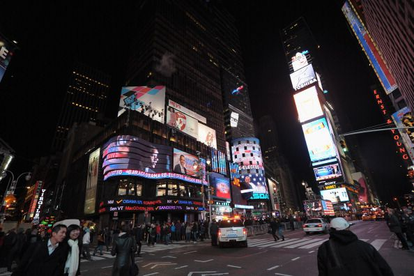General view of jumbotrons in Times Square