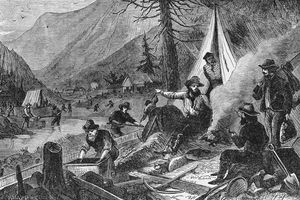 Illustration of miners during California gold rush of 1848-1849.