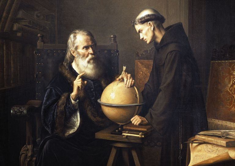 Painting of Galileo Galilei sitting with a globe and another scholar
