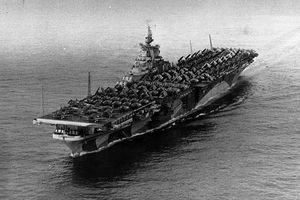 USS Ticonderoga (CV-14) at sea