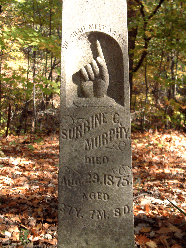A tombstone in Baltimore Cemetery, Warren County, Indiana