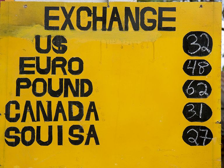 Sign with various exchange rates listed