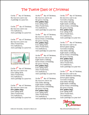 12 Days Of Christmas Lyrics.Twelve Days Of Christmas Printables Wordsearch More 12 Days